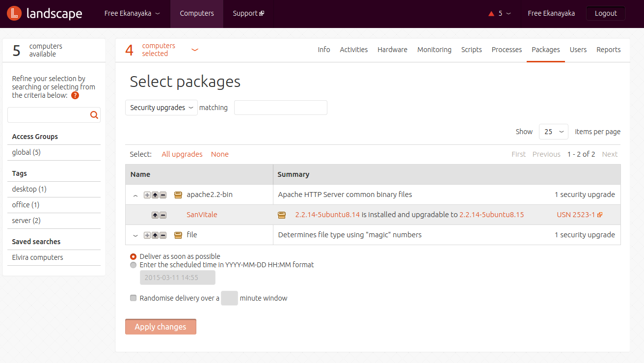 package-listing
