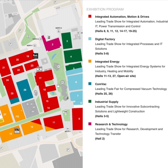 Map of the 20+ buildings that make up Hannover Messe