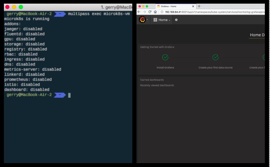 Kubernetes on Mac install and Grafana dashboard