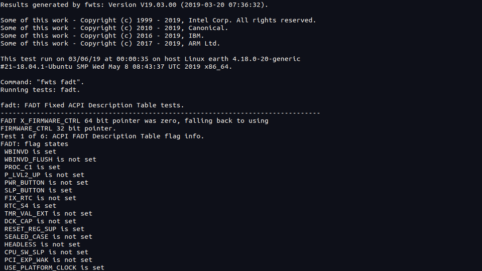 Screenshot of the firmware test suite command line interface