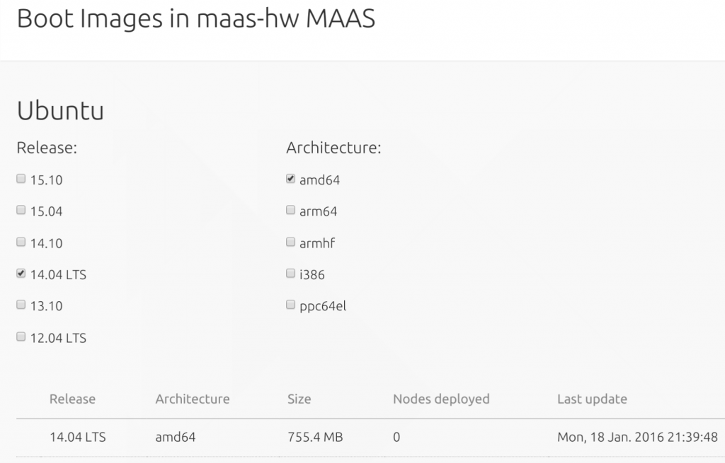 MAAS Boot Images Imported