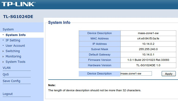 TL-SG1024DE System Info page after configuration is finished